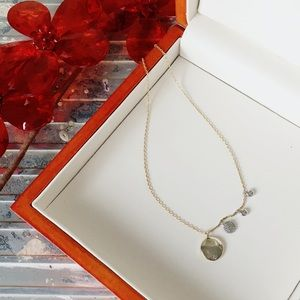 Sterling Charm Necklace Gold Wash & White Stone
